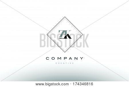 Zk Z K  Retro Vintage Black White Alphabet Letter Logo