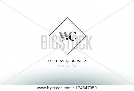 Wc W C  Retro Vintage Black White Alphabet Letter Logo