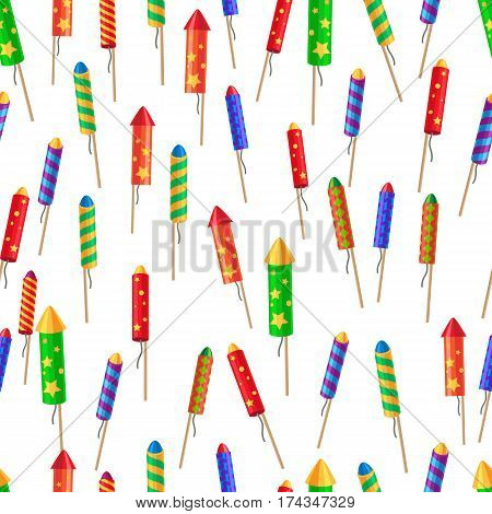 Seamless pattern of bright glossy exploding rockets endless texture on white. Illustration of colourful fireworks New Year decorations in cartoon style. Vector wrapping paper wallpaper design.