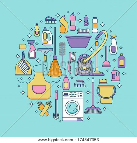 Household cleaning supplies isolated icons set in outline flat style. Washing tools vector cartoon illustrations bucket, chemistry . Graphic concept for web sites, banner, mobile apps, infographics.