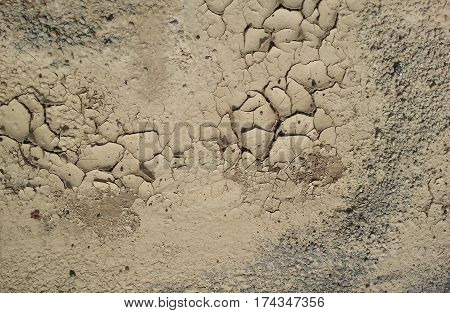 Closeup of dry cracked ground in drought conditions