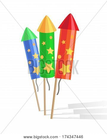 Colourful exploding red, green and blue rockets isolated on white background in cartoon style flat design. Collection of fireworks an New Year attributes decorations. Vector illustration of salute