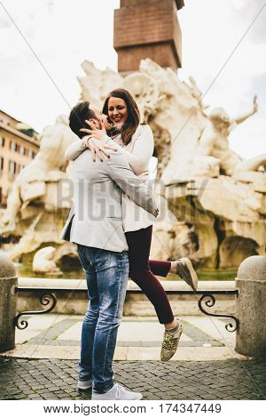 Loving Couple Having Fun In Rome, Italy