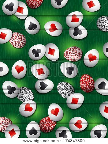 Easter green background with red and black symbols over many white eggs vector illustration. Ideal for printing onto fabric and paper or scrap booking.