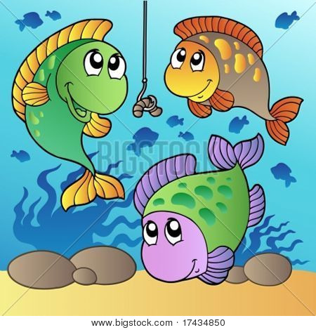 Three fishes and fishing hook - vector illustration.