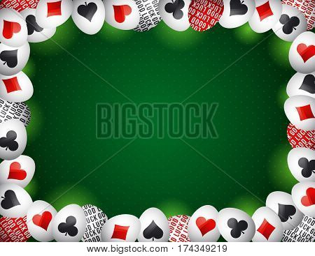 Green Gambling background with frame of red and black poker symbols over easter eggs vector illustration. Ideal for printing onto fabric and paper or scrap booking.