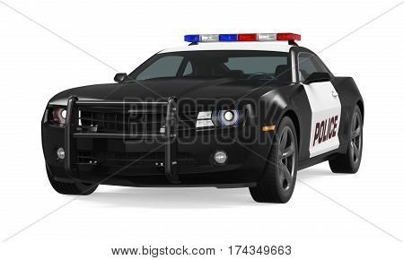 Police Car isolated on white background. 3D render