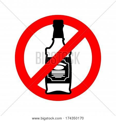Stop Alcohol. Bottle Of Whiskey On  Red Circle. Road Sign Ban Alcoholic