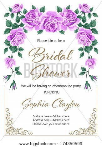 Bridal shower or wedding invitation with roses. Vector Illustration