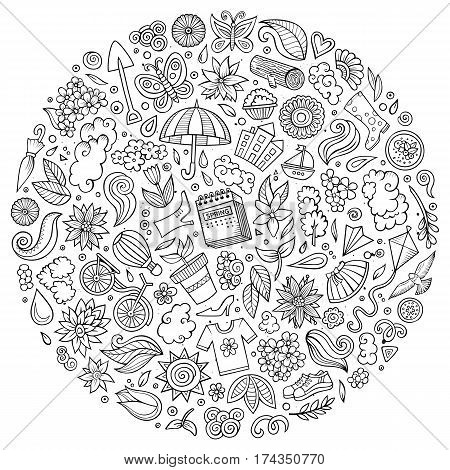 Line art vector hand drawn set of Spring cartoon doodle objects, symbols and items. Round composition