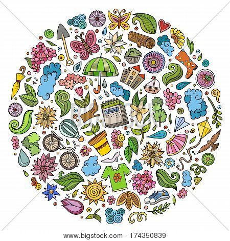 Colorful vector hand drawn set of Spring cartoon doodle objects, symbols and items. Round composition