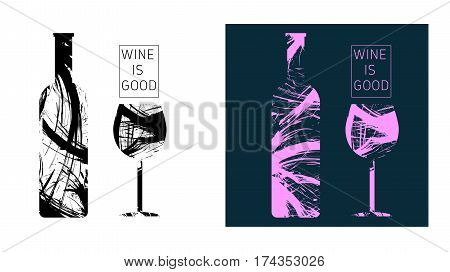 Wine tasting card set, with colored bottle and a glass. Digital vector image.