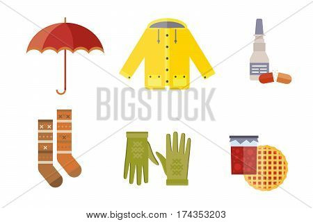 collection of autumn clothes items the fall. Acorns, leaves trees autumn, rain clouds. Bad autumn cold weather clothes. Red, yellow colors vector illustration set