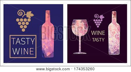Wine tasting card set, with colored bottle and a glass over a burgundy background. Digital vector image.