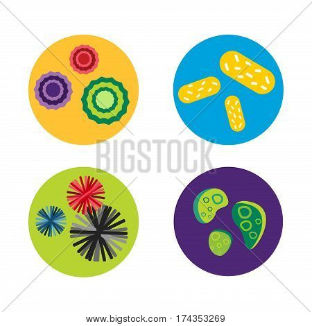 Bacteria virus microscopic isolated microbes icon human microbiology organism and medicine infection biology illness pathogen mold vector illustration. Pollen disease hiv bacterium science sign.