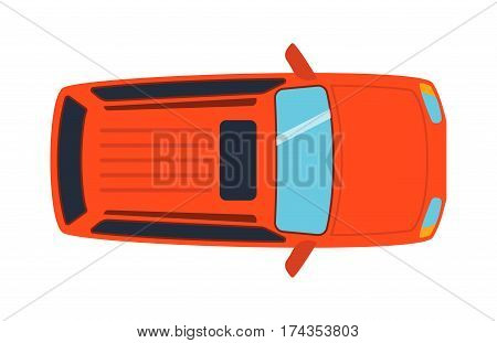 Overhead top view on colorful car toy automobile transport and wheel transportation design traffic roof motor vehicle freight vector illustration. Delivery rail with forklifts.