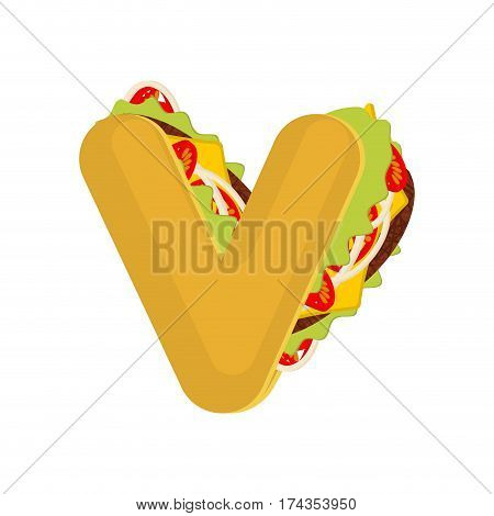 Letter V Tacos. Mexican Fast Food Font. Taco Alphabet Symbol. Mexico Meal Abc