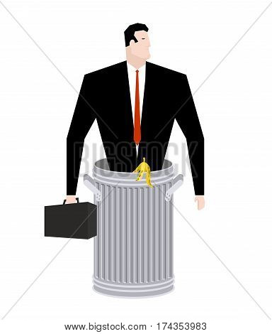 Businessman In Trash Can. Business Of Garbage. Tie And Case. Rubbish Manager