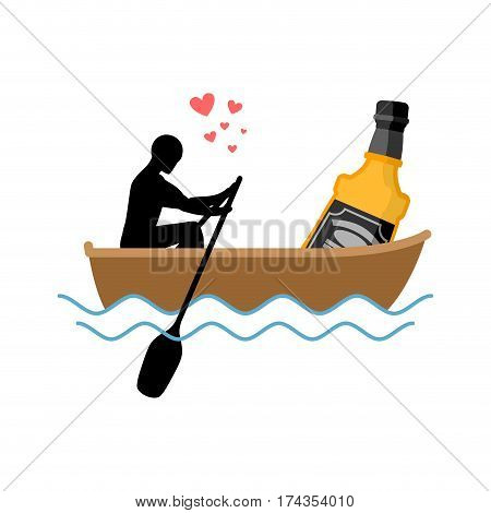 Lover Alcohol Drink. Man And Bottle Of Whiskey Boat Ride. Lovers Float. Romantic Date. Alcoholic Lif