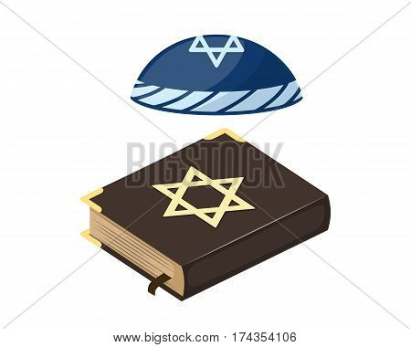Muslim tradition islam source hat jew bible book christianity church jew and holy ancient traditional history spirituality biblical scripture vector illustration. Religion old vector holy text.
