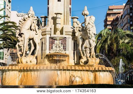 Fuente de Levante monument in Plaza de Luceros square in Alicante tourist attraction front view closeup on sculpture details 2017