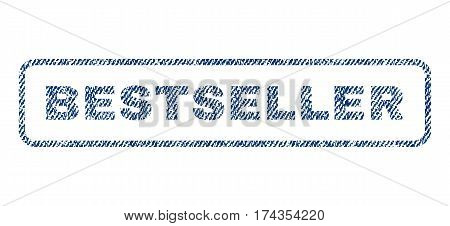 Bestseller text textile seal stamp watermark. Blue jeans fabric vectorized texture. Vector caption inside rounded rectangular banner. Rubber sticker with fiber textile structure.