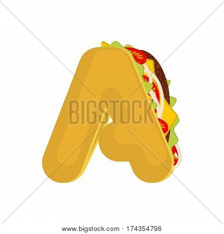 Letter A Tacos. Mexican Fast Food Font. Taco Alphabet Symbol. Mexico Meal Abc