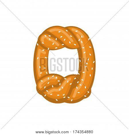 Number 0 Pretzel. Snack Font Zero Symbol. Food Alphabet Sign. Traditional German Meal Is Abc. Bake N