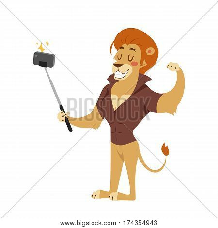 Funny picture lion photographer mamal person take selfie stick in his hand and cute animal taking a selfie together with smartphone camera vector illustration. Camera photo pet character.