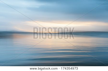Mystical motion blur background at sunset over the bay Russell New Zealand.