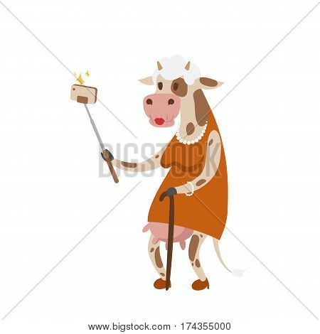 Funny picture cow photographer mamal person take selfie stick in his hand and cute animal taking a selfie together with smartphone camera vector illustration. Camera photo pet character.