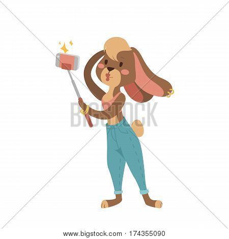 Funny picture rabbit photographer mamal person take selfie stick in his hand and cute animal taking a selfie together with smartphone camera vector illustration. Camera photo pet character.