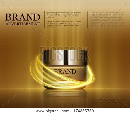 Cosmetic ads template, Realistic Cosmetic bottle. Container for cream, foams and other cosmetics bottle mockup on dazzling background. Golden light round elements. 3D illustration.