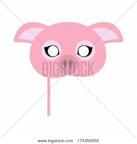 Pig carnival mask vector illustration in flat style. Pink pig domestic animal face. Funny childish masquerade mask isolated on white. New Year masque for festivals, holiday dress code for kids