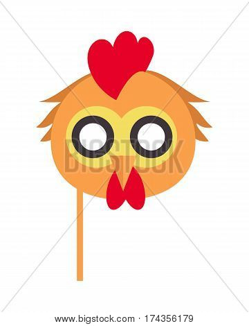 Cock bird carnival mask vector illustration in flat style. Rooster chicken hen fowl. Funny childish masquerade mask isolated on white. New Year masque for festivals, holiday dress code for kids