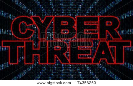 Cyber threat text on hex code 3d illustration
