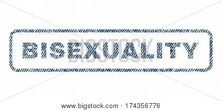 Bisexuality text textile seal stamp watermark. Blue jeans fabric vectorized texture. Vector tag inside rounded rectangular banner. Rubber emblem with fiber textile structure.
