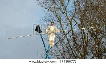 25.02.2017.Russia.Saint - Petersburg.Uzbek tightrope walkers perform at the festival of farewell to winter.
