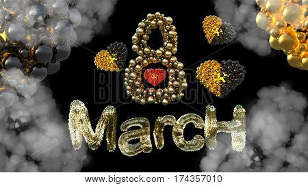 8 March symbol. Figure eight made of spheres and fur flying in the air with gold black hearts . Can be used as a decorative greeting or postcard for international Woman's Day 3d illustration.