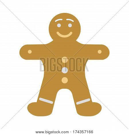 Gingerbread man decorated colored icing. Holiday cookie in shape of man. For new year's day, christmas, winter holiday cooking, new year's eve, food silvester. Comic illustration in 80s 90s style