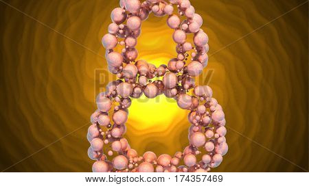 8 March symbol. Figure of eight made of spheres flying over bright involute background. Can be used as a decorative greeting grungy or postcard for international Woman's Day. 3d illustration.