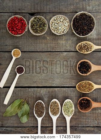 Composition Of Spices On Wooden Background. View Top. Copy Space