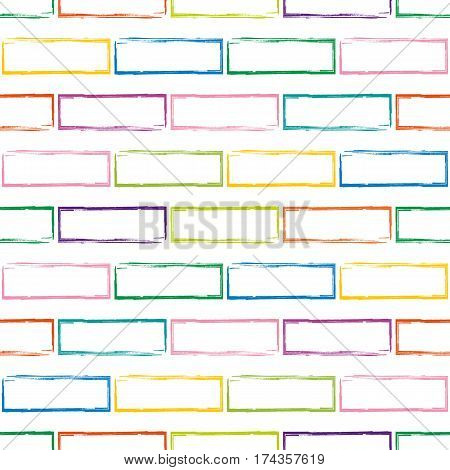 Stylized motley brick wall vector background. Abstract multicolor bricks seamless pattern. Can be used for graphic design pattern fill packaging clothing printing on surfaces.