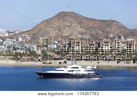 The luxury yacht visiting Cabo San Lucas resort town.