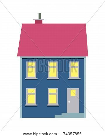 Vector illustration of isolated cartoon house with two floors on white background. Colourful building with pink roof and chimney on it and some yellow lighted windows. Architecture in city.