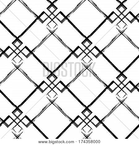 Grunge diagonal seamless pattern. Abstract black and white vector background. Can be used for graphic design pattern fill packaging clothing printing on surfaces.