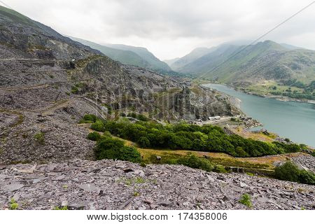 View from upper Dinorwig Slate Quarry over Llyn Padarn Llanberis and the Nant Peris pass.