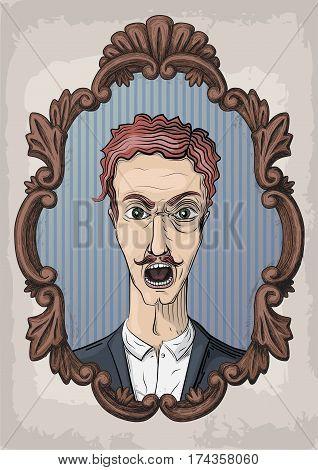 Men person emotion face portrait. Vector retro vintage front view illustration in wooden frame
