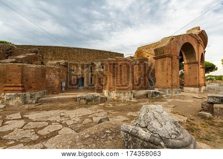 Roman building ruins at Ostia Antica roman city. Rome in Italy.