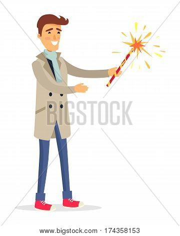 Isolated man in beige coat, blue jeans, light scarf and red shoes holds fireworks device in one hand. Vector portrait of cartoon smiling male person in going to make salute party in flat style